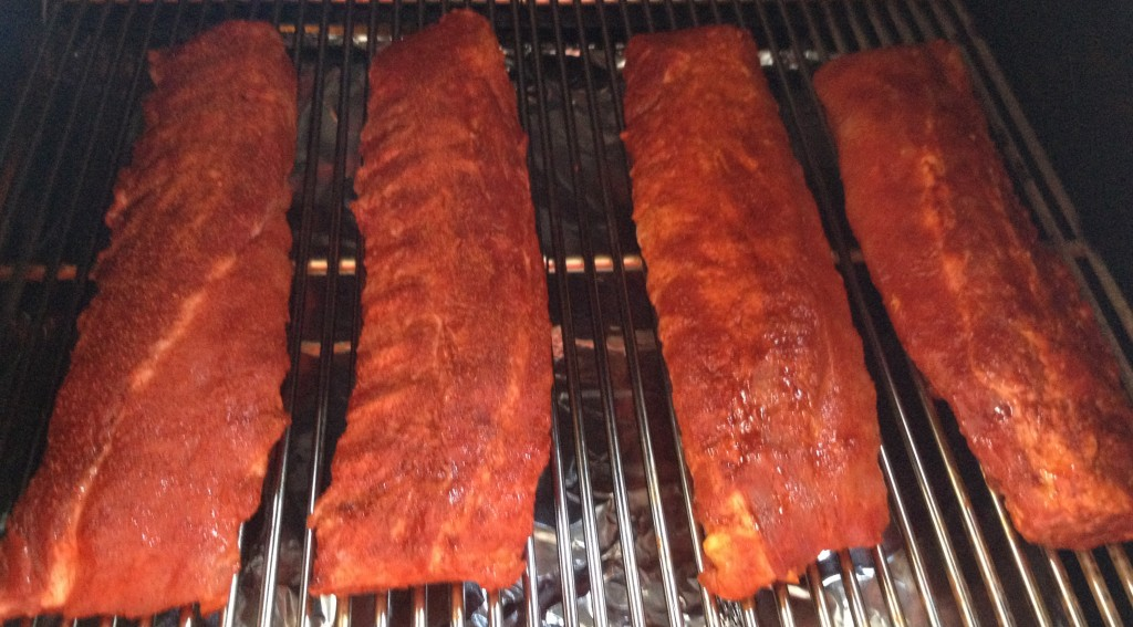 competition ribs on smoker