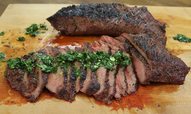Grilled Tri Tip With Chimichurri Sauce On Big Green Egg