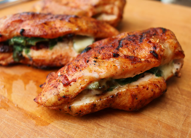 Grilled Chicken Breast Stuffed With Spinach Cheese And Sundried Tomatoes