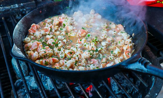 creole shrimp dip in cast iron skillet