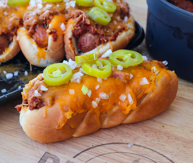 chili dogs with the fixings